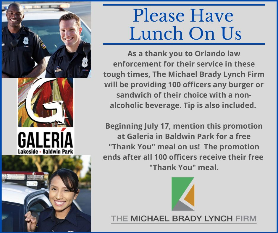 The Michael Brady Lynch Firm to Offer Free Thank You Meals to Officers
